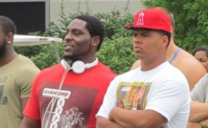 Nnadi, pictured left, with Ricky Walker on a VT visit in July of 2013