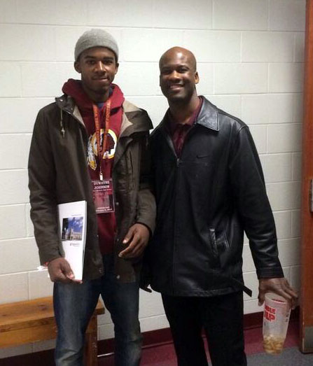 Johnson (pictured left) with VT DBs coach Torrian Gray