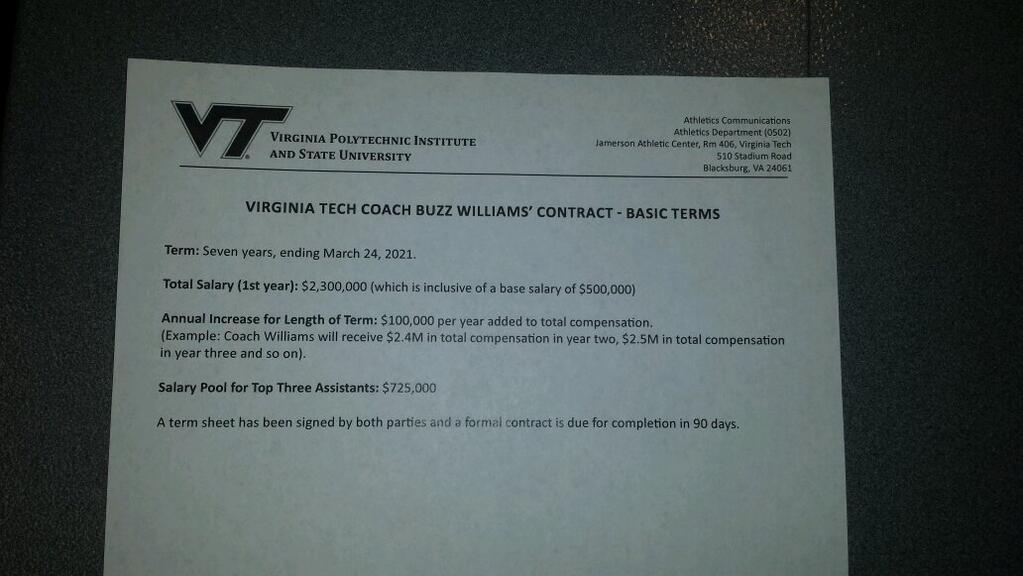 Buzz Williams contract info, handed out on March 24, 2014 at his introductory press conference.