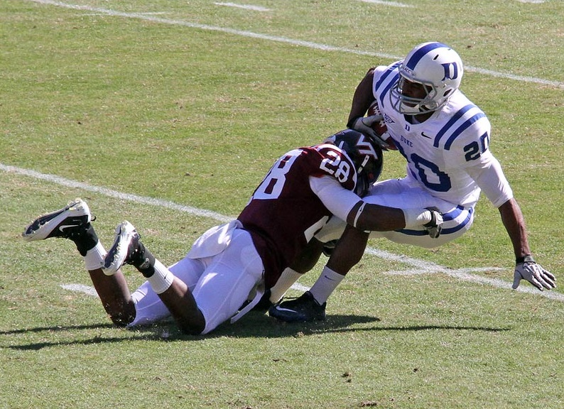 Alonzo Tweedy drops a Duke punt returner on the spot in a 2010 game.