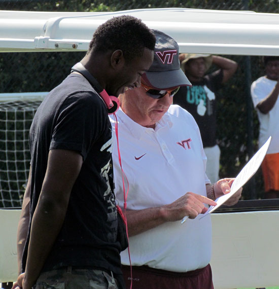 Frank Beamer talks to Alleyne during VT's July 14 Camp