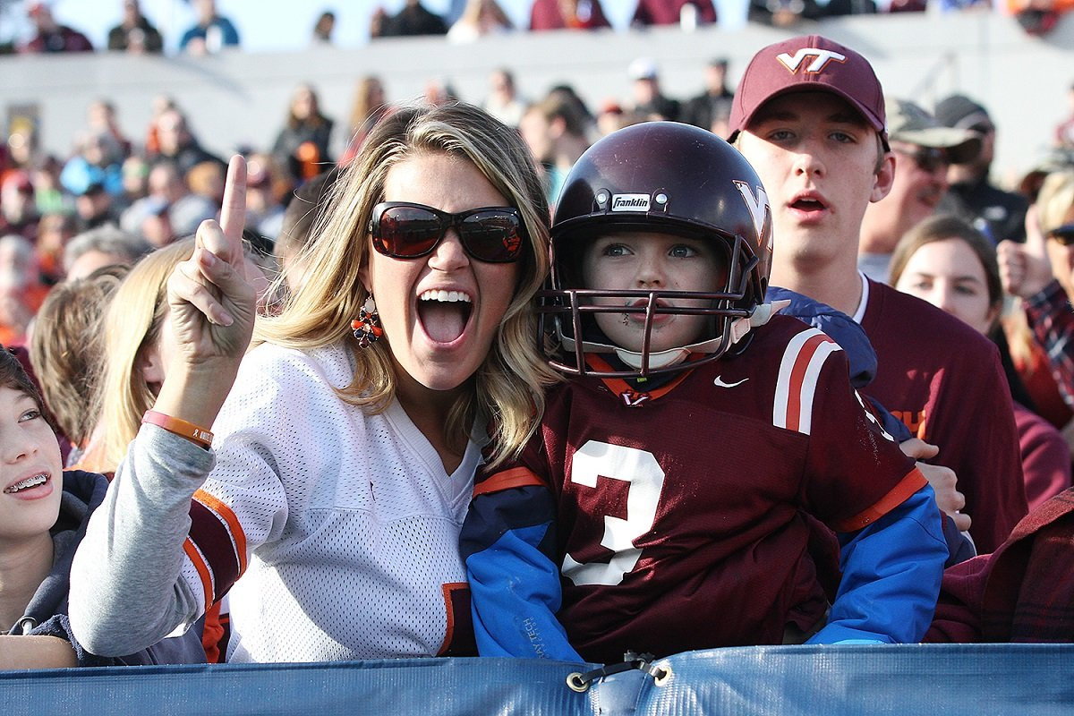 Hokie fans celebrate during Virginia Tech's 33-17 Military Bowl win.