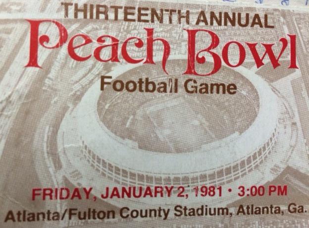 The 1981 Peach Bowl ticket stub.