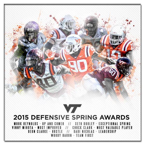 Virginia Tech 2015 Spring football award winners-defensive