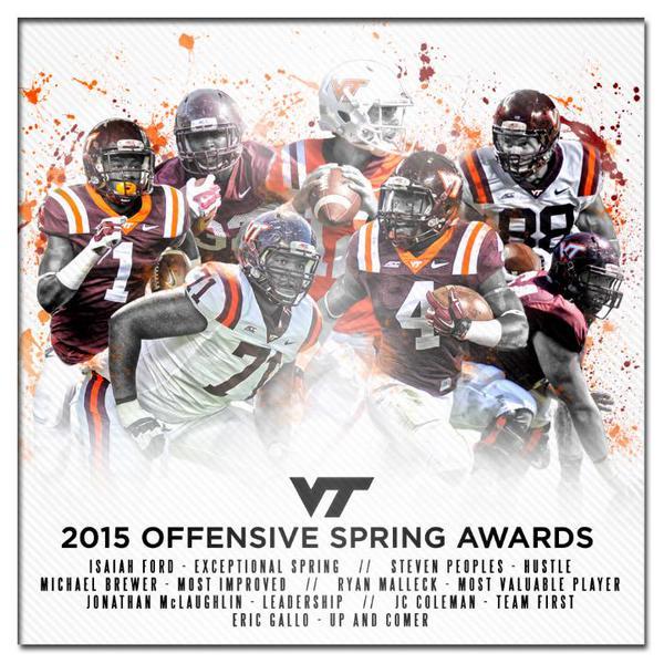 Virginia Tech 2015 spring football award winners-offense