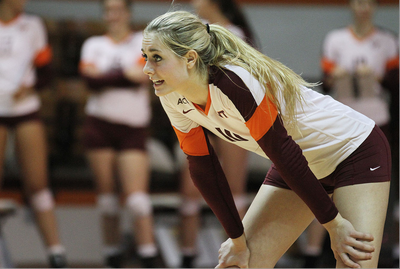 A Hokie volleyball player gets set for action. (photo by Ivan Morozov)