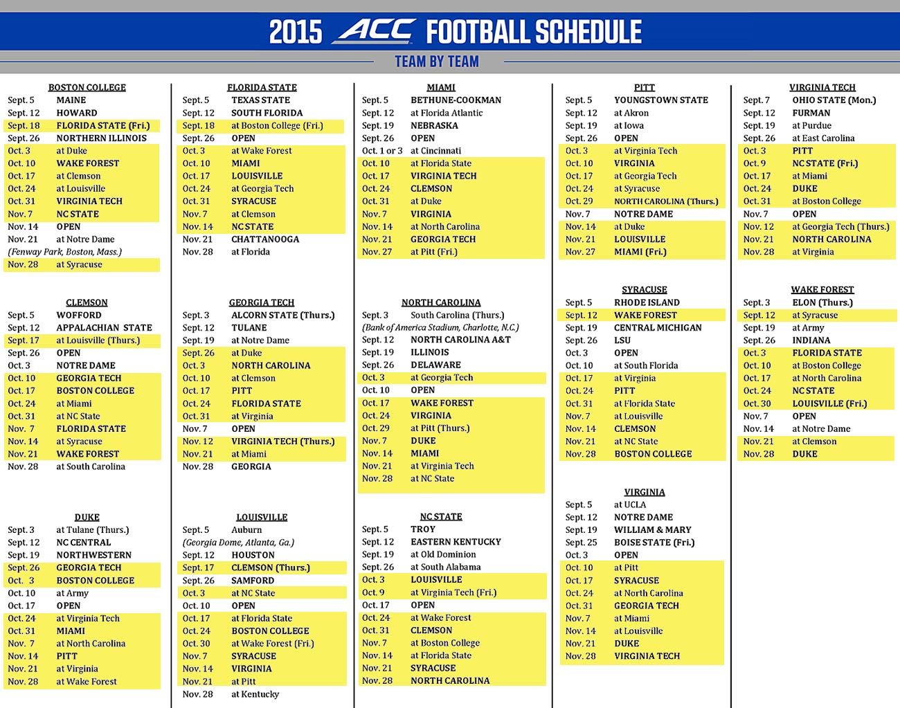 2015 ACC Football Composite Schedule