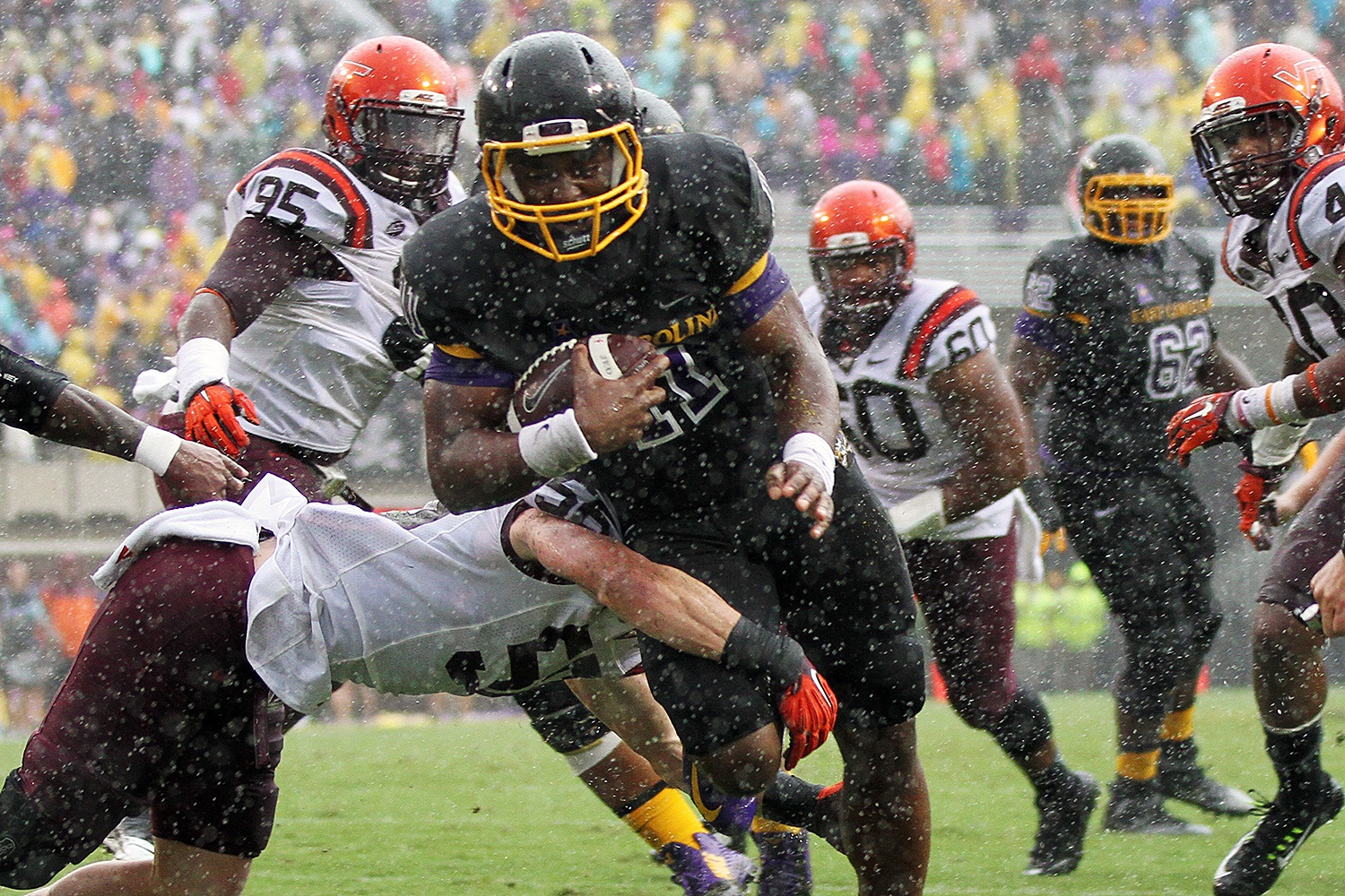 ECU's James Summers (in the pouring rain)