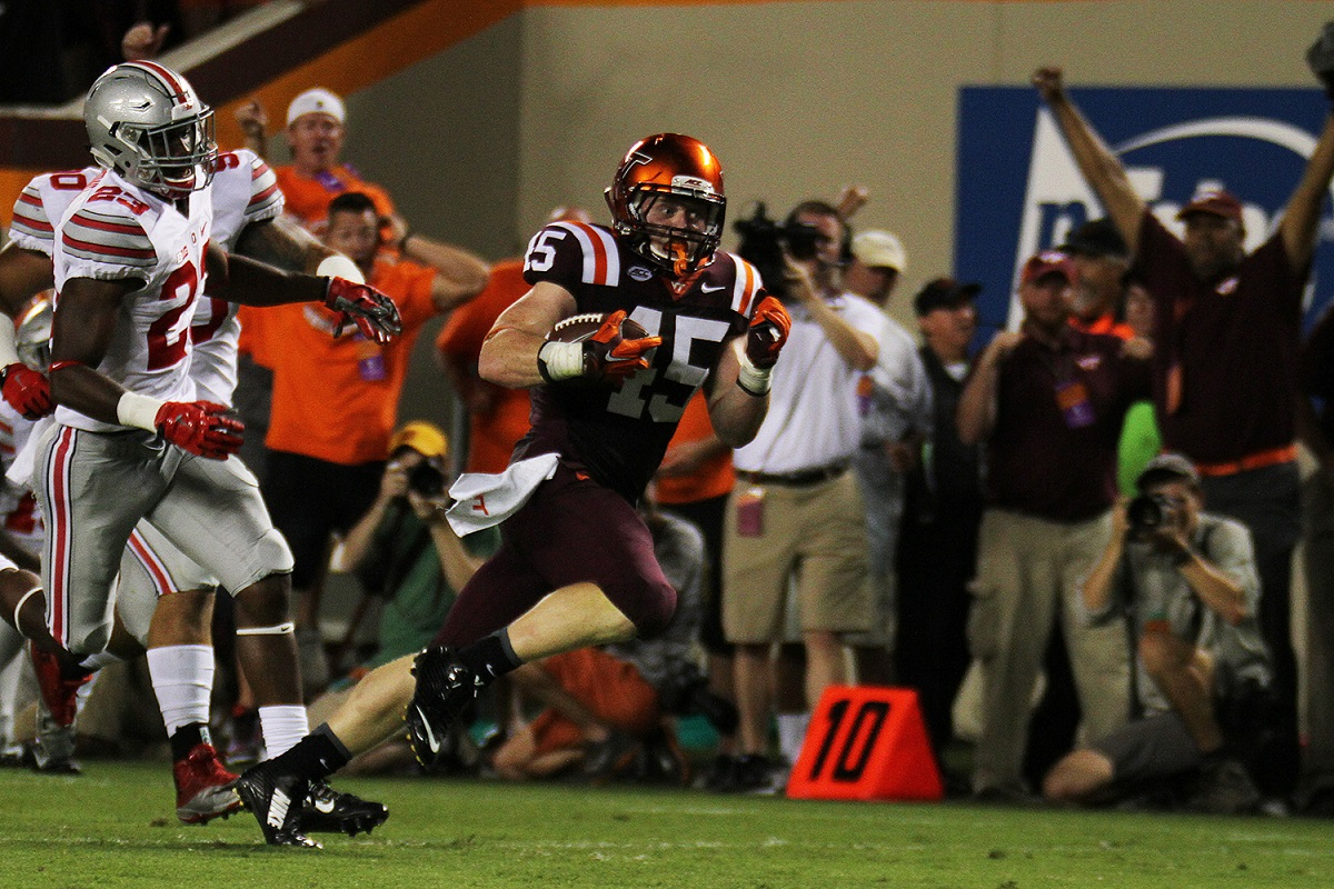 Sam Rogers scores from 51 yards out for the Hokies