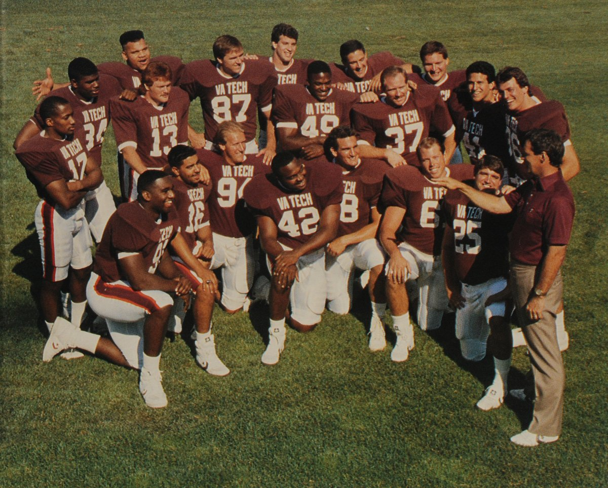 Frank Beamer and members of his first Tech team.