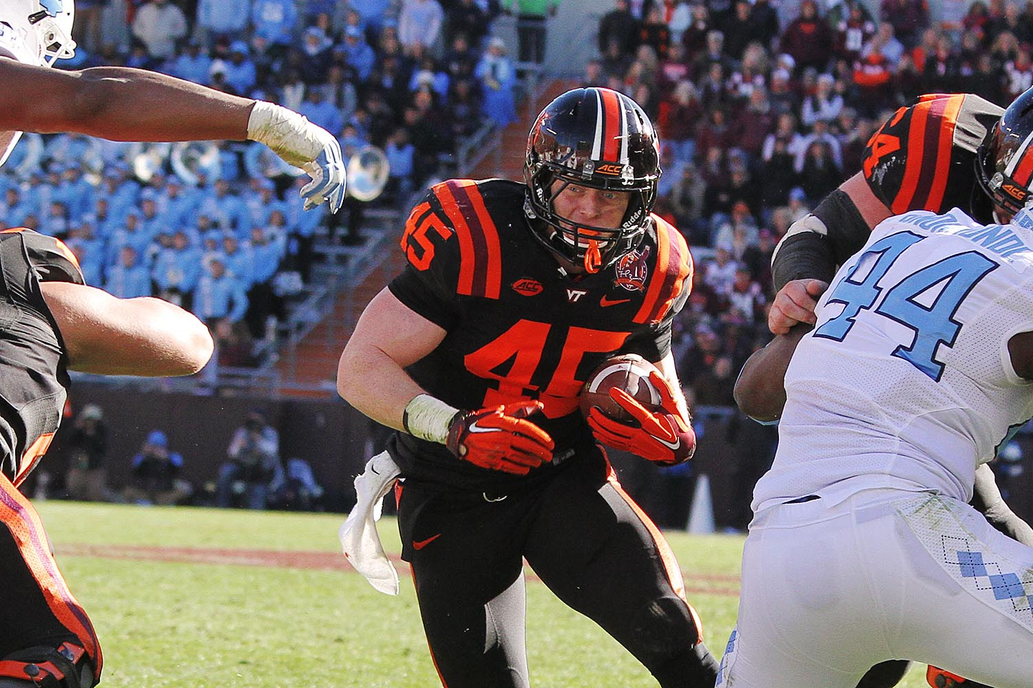 Sam Rogers breaks through a hole against UNC.