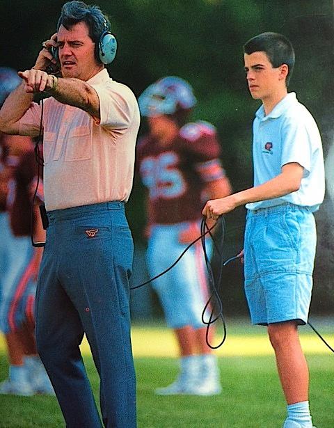 Frank and Shane Beamer, photo courtesy of Virginia Tech athletics photography.