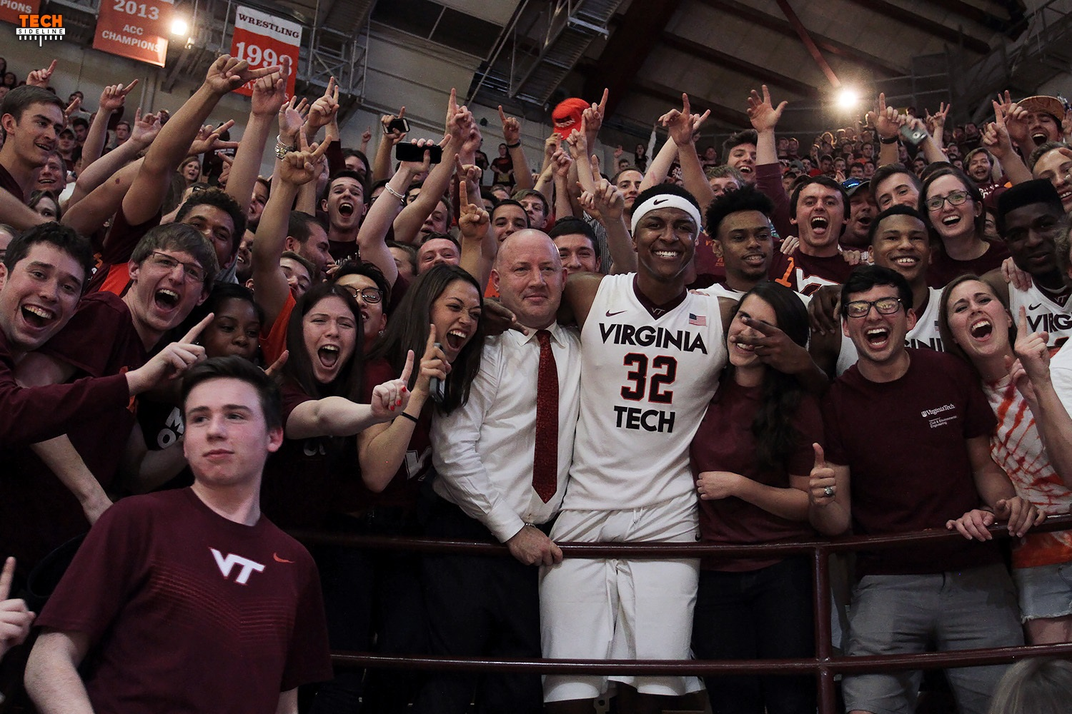 Buzz Williams and the team (Zach LeDay shown here) went up into the stands after the overtime win against Princeton.