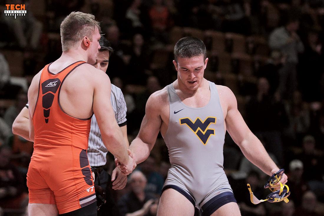 Austin Gabel picked up a win against WVU's Bubba Scheffel (photo by Ivan Morozov)