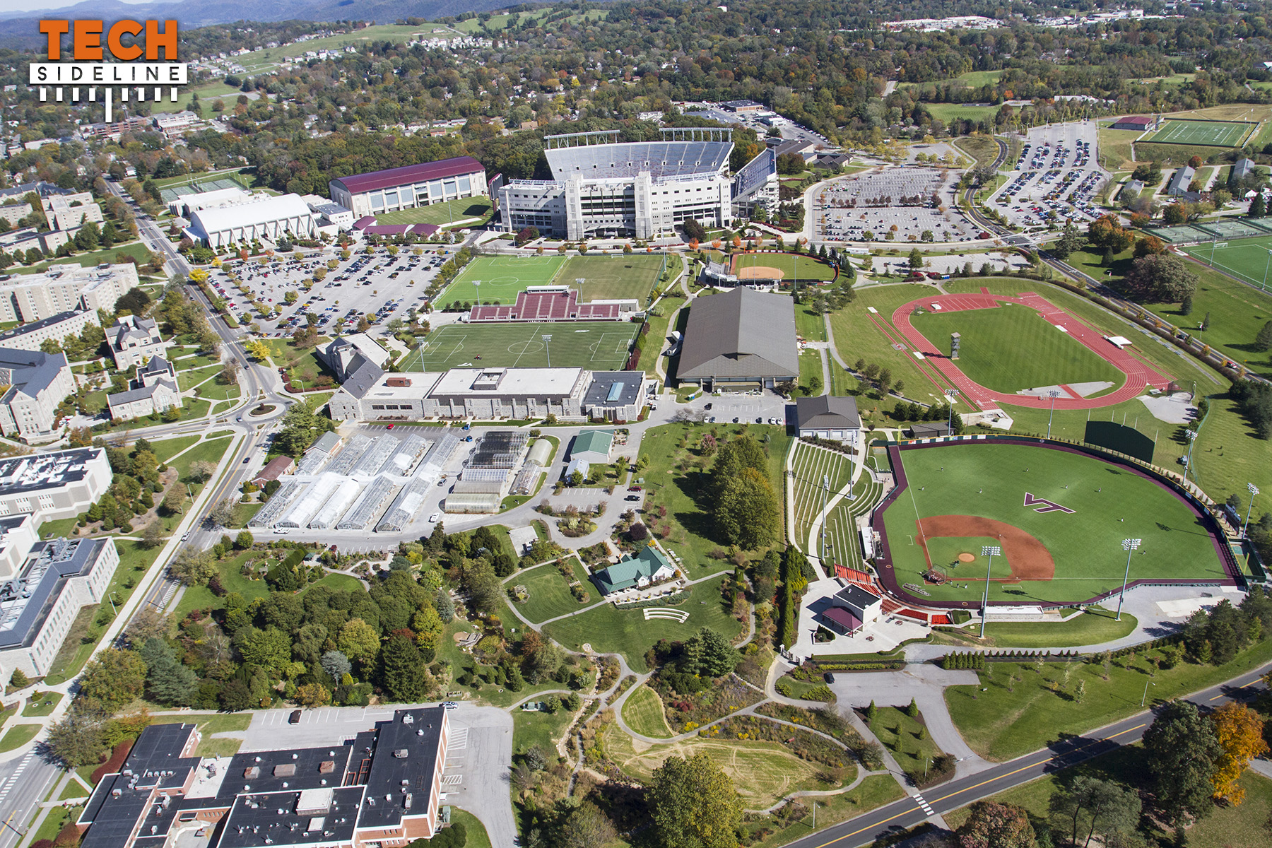 2015.10.17.  Aerial Campus Photography, Virginia Tech.  October Flyover.