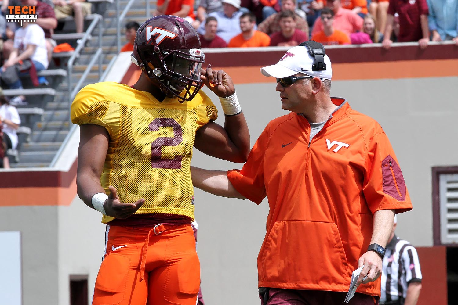 Dwayne Lawson and Justin Fuente at the Virginia Tech 2016 Spring Game (photo by Ivan Morozov)