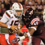 Tremaine Edmunds sacks Miami quarterback Brad Kaaya.