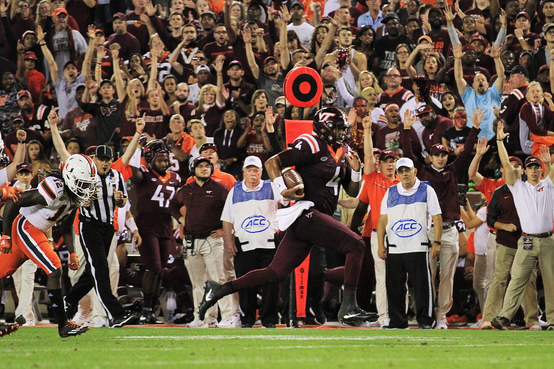 2016.10.20. University of Miami (Canes, Hurricanes) at Virginia Tech (Hokies). Lane Stadium, Blacksburg, VA. Final score: Virginia Tech 37, UM 16.
