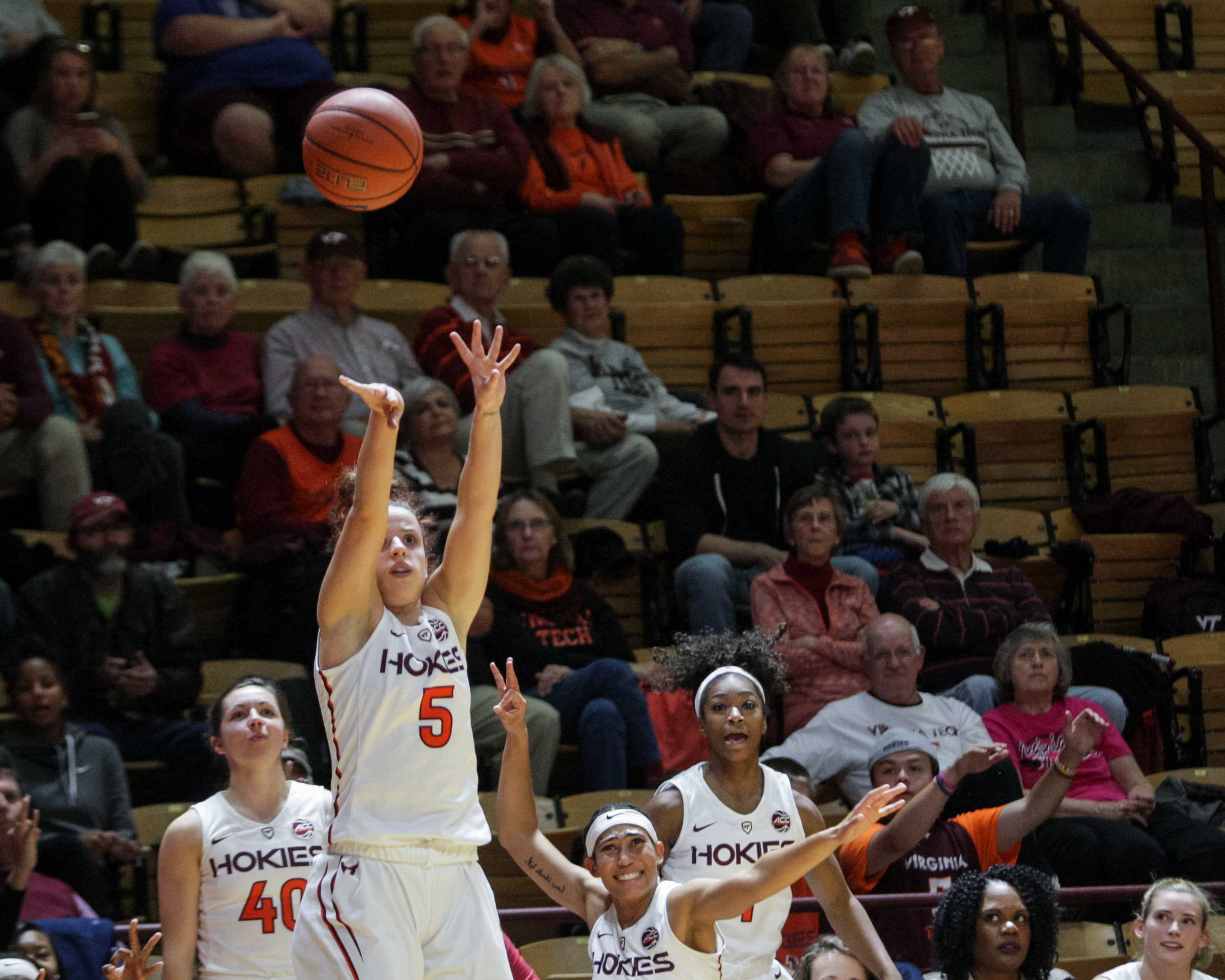 Vanessa Panousis (5) attempts a three pointer against Presbyterian Tuesday night in Cassell Coliseum Nov. 16, 2016. She broke the Hokie career record for three pointers during the game.