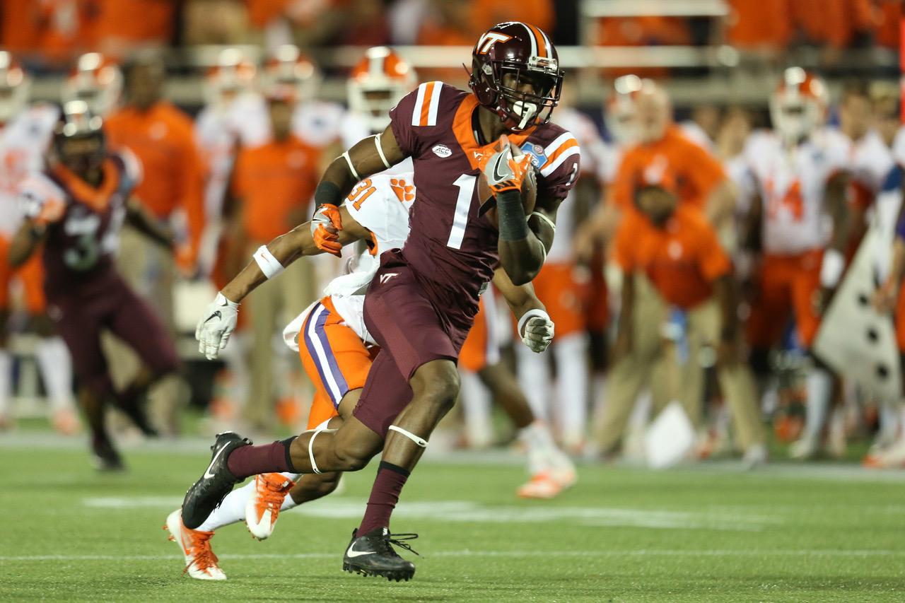 Virginia Tech Hokies wide receiver Isaiah Ford (1)