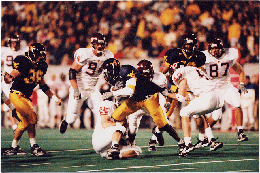 The Hokies put their unbeaten record on the line at West Virginia in 1999. (Virginia Tech sports photography)