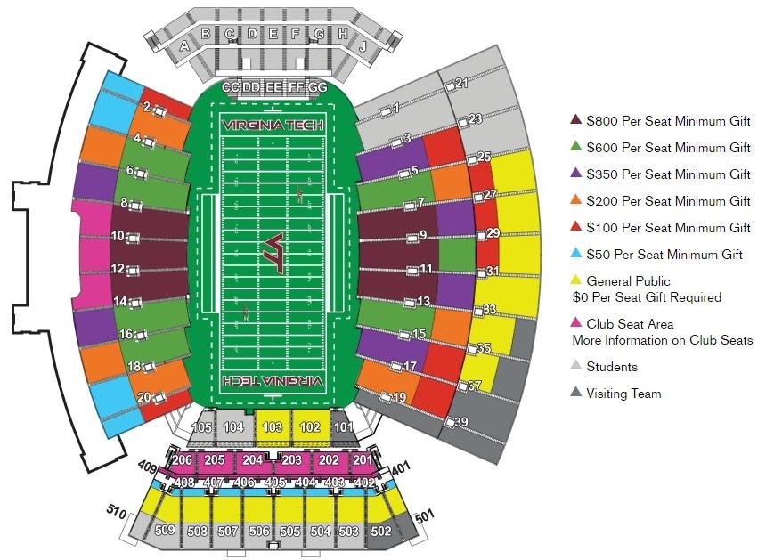 Virginia Tech Lane Stadium per-seat minimum donations