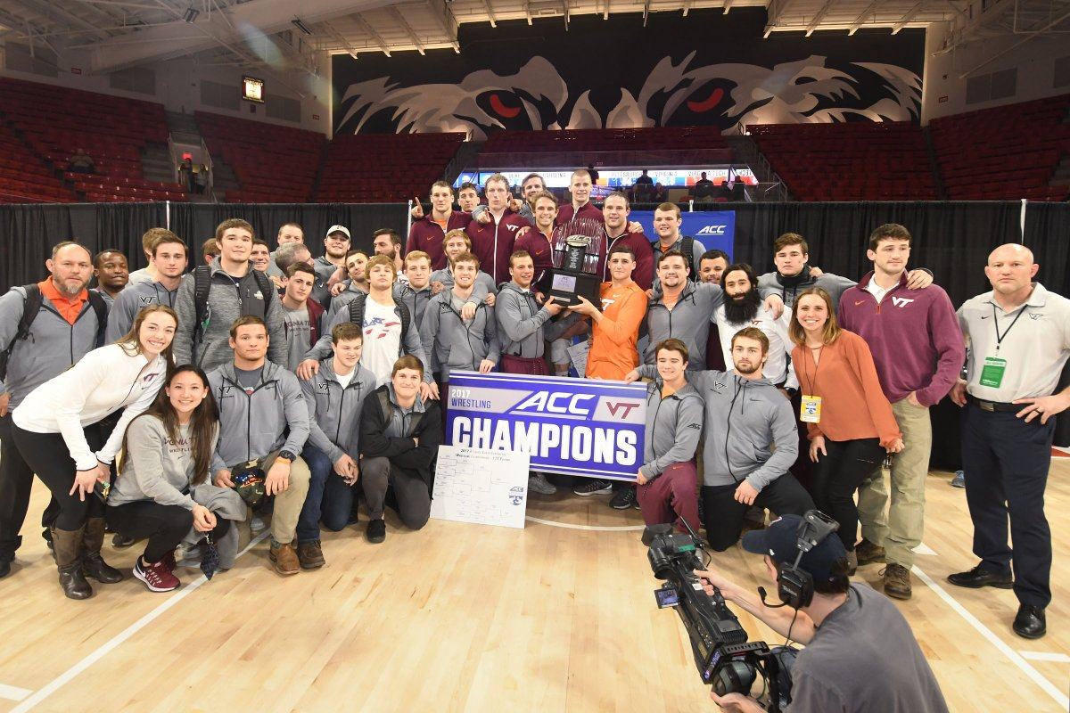 The Hokies are ACC Champions for the third time. (Photo courtesy of @VT_Wrestling)