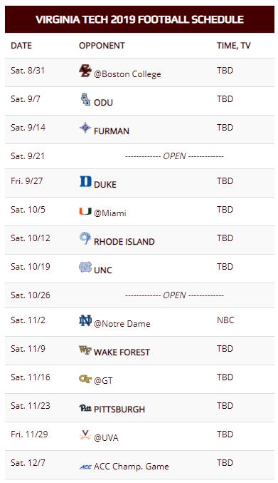 Virginia Tech Football Schedule 2020.Virginia Tech S 2019 Schedule Sets Hokies Up To Be Fresh