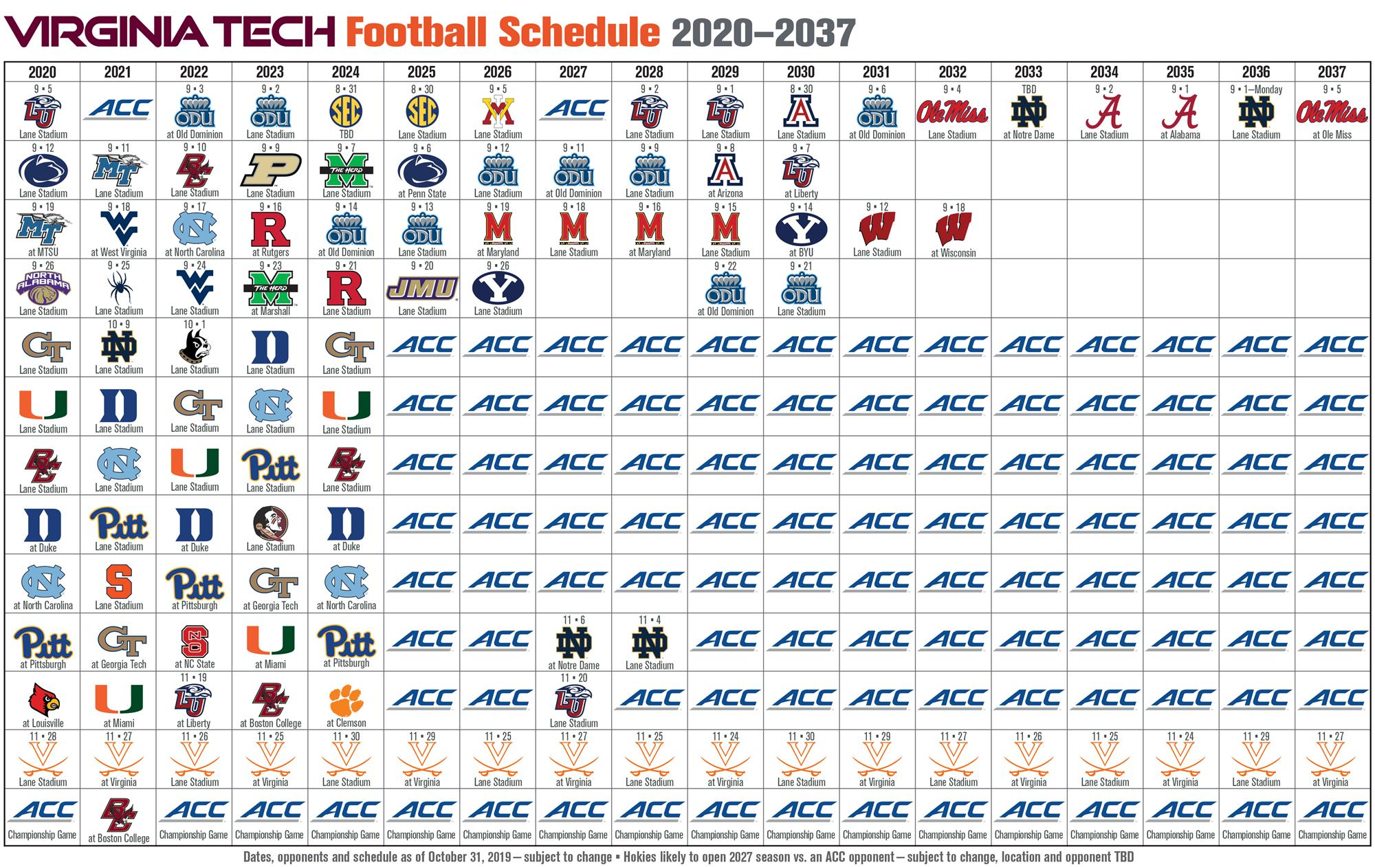 Virginia Tech Future Football Schedules Techsideline Com