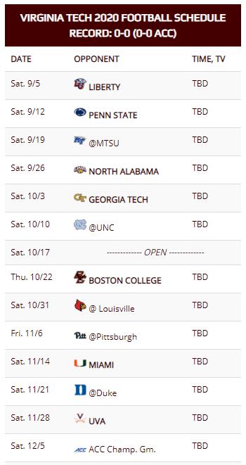 Virginia Tech Football Schedule Released Techsideline Com